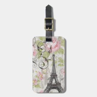 girly chic pink floral french country eiffel tower luggage tag