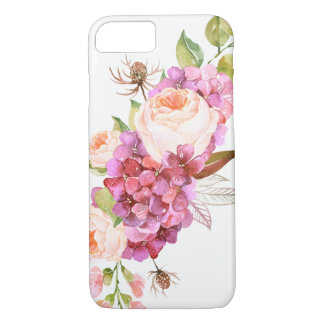 Girly Chic Pink Pretty Trendy Watercolor Floral iPhone 8/7 Case