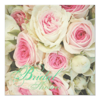 girly chic  pink Rose Floral Bridal Shower Card