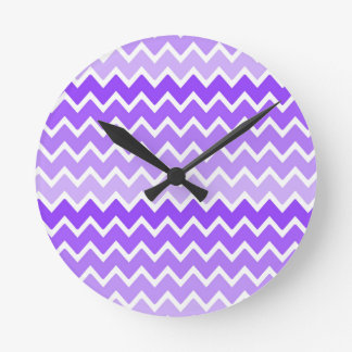 Girly Chic Purple Lavender Lilac Ombre Chevron Round Clock