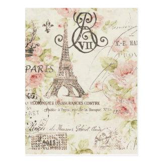 girly chic romantic floral paris eiffel tower postcard