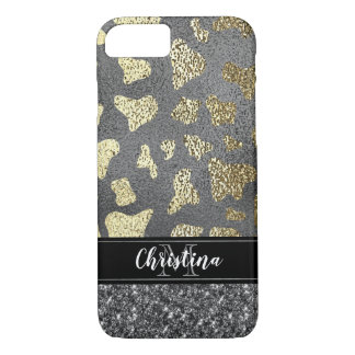 Girly Chic Silver Gold Black Animal Print Monogram iPhone 8/7 Case