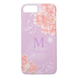 girly chic spring watercolor floral pink peony iPhone 8/7 case
