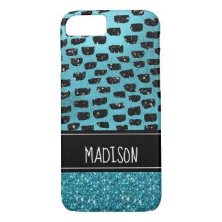 Girly Chic Teal Black Modern Trendy Custom iPhone 8/7 Case