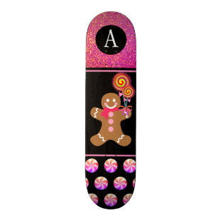 Girly Christmas Pink Glitter Gingerbread Man Kids Skateboard