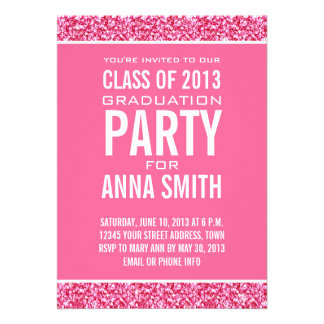 GIRLY CLASS OF 2013 PARTY PINK GLITTER CARDS