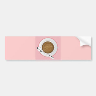 GIRLY COFFEE PINK CAFE HAPPY BEVERAGES GOOD MORNIN BUMPER STICKER