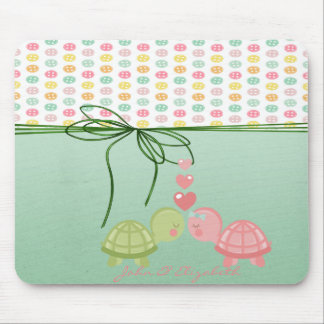 Girly Colorful Buttons,Turtles In Love-Personalize Mouse Pad