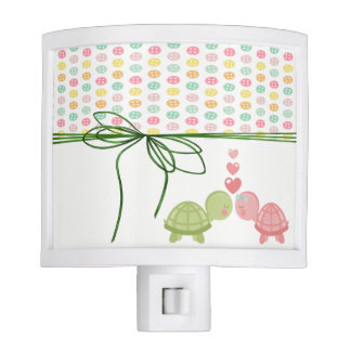 Girly Colorful Buttons,Turtles In Love-Personalize Night Light
