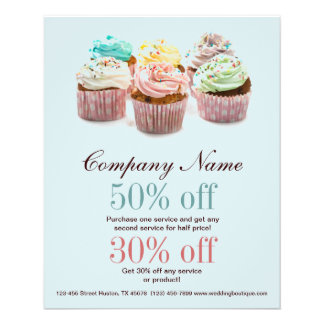 girly colorful cupcakes bakery business flyer