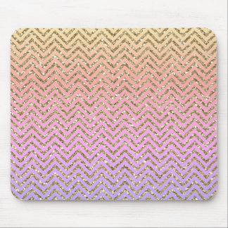 Girly Colorful Faux Glitter Gold Chevron Mousepad