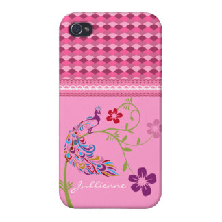 Girly Colorful Peacock and Flowers iPhone 4 Glossy iPhone 4/4S Cases