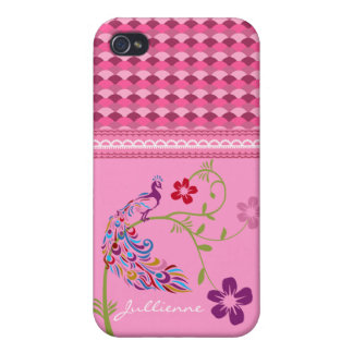 Girly Colorful Peacock and Flowers iPhone 4 Matte iPhone 4/4S Cases