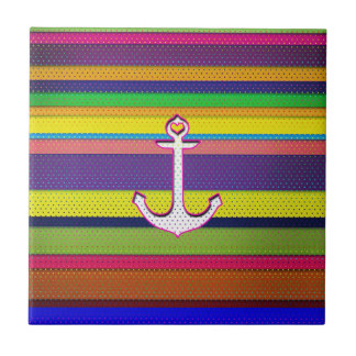 Girly Colorful Stripe polka dot heart anchor Tile