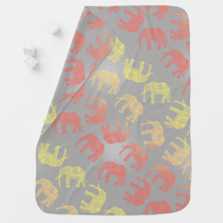 girly colorful tribal floral elephant pattern baby blanket