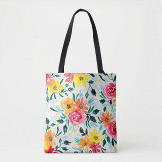 Girly Colorful Watercolor Floral Pattern Tote Bag