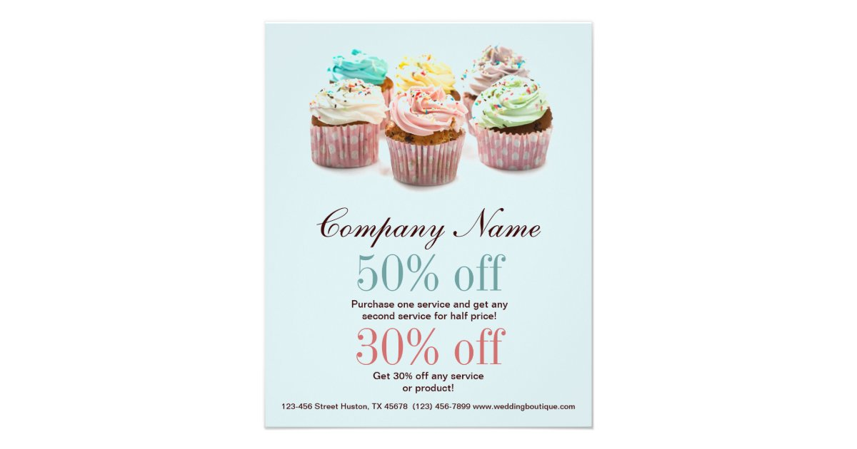 girly colourful cupcakes bakery business full colour flyer zazzle - Girly Pictures To Colour In
