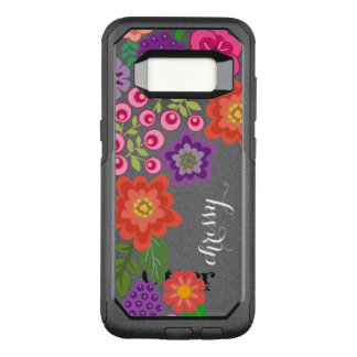 Girly Colourful Floral Pattern Custom Name OtterBox Commuter Samsung Galaxy S8 Case