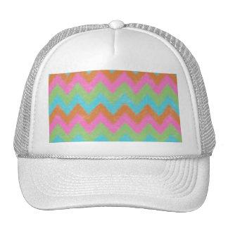 Girly Coral and Mint Bohemian Chevron Pattern Trucker Hats