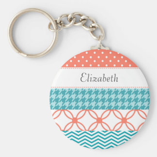 Girly Coral and Teal Washi Tape Pattern With Name Basic Round Button Keychain