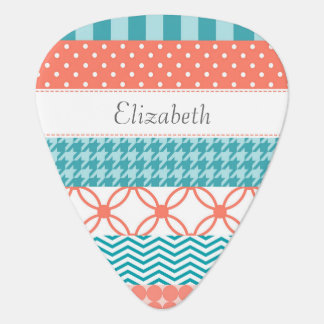 Girly Coral and Teal Washi Tape Pattern With Name Guitar Pick