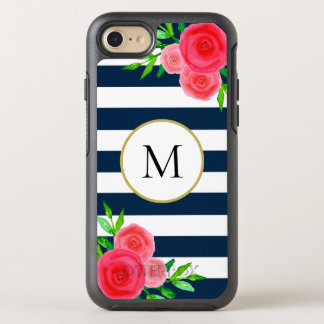 Girly Coral Floral Monogram Navy Blue White Stripe OtterBox Symmetry iPhone 8/7 Case