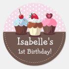 Girly Cupcakes Birthday Stickers