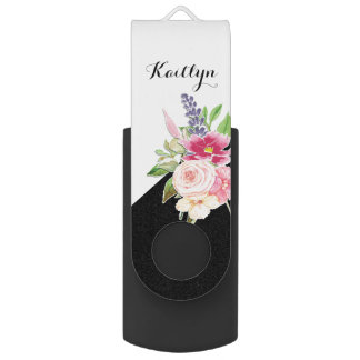 Girly Custom Pastel Watercolor Floral Swivel USB 2.0 Flash Drive