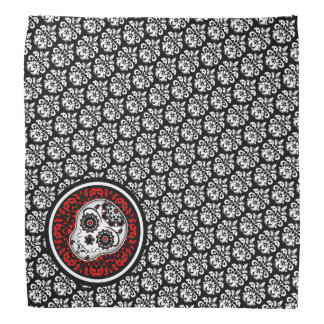 Girly cute Day of the Dead sugar skull damask Do-rags
