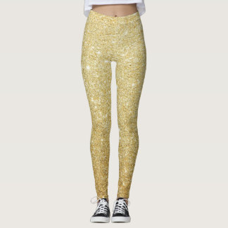 Girly Cute Glittery Faux Gold Leggings