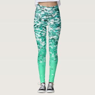 Girly Cute Glittery Green Leggings