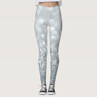 Girly Cute Glittery Silver Leggings