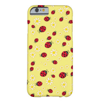 girly cute ladybug and daisy flower pattern yellow barely there iPhone 6 case