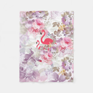 Girly cute pink flamingo vintage pastel flowers fleece blanket