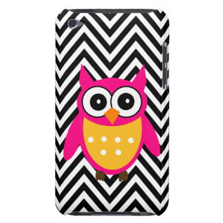 Girly Cute Pink Owl Black Chevron Pattern iPod Touch Case