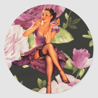 girly cute purple rose pin up girl vintage round sticker
