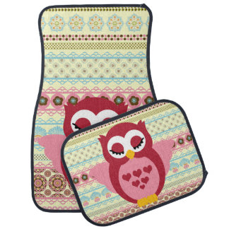 Girly Cute Sleepy Owl Car Liners