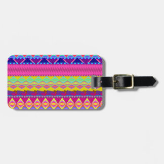 Girly cute trendy aztec andes design luggage tag