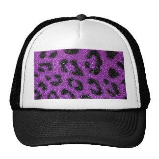 Girly Cute Trendy Purple Glitter Cheetah print Hats