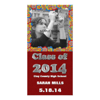 Girly Daisies Glitter Red Class of 2014 Graduation Picture Card