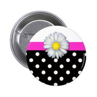 Girly daisy black white polka dot pins