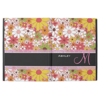 "Girly Daisy Flowers Stylish Floral Monogrammed iPad Pro 12.9"" Case"