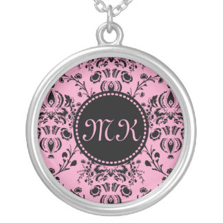 Girly Damask Monogrammed Elegant Classy Pink Black Round Pendant Necklace