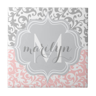 Girly Damask Swirls Pink and Gray Monogrammed Tile