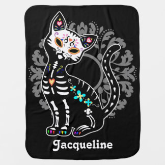 Girly Day of the Dead cute cat custom black Baby Blanket