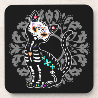 Girly Day of the Dead cute cat custom black Drink Coaster