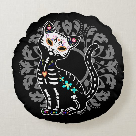 Girly Day of the Dead cute cat custom monogram Round Pillow