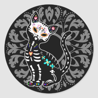 Girly Day of the Dead cute cat custom personalized Classic Round Sticker