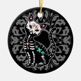 Girly Day of the Dead cute cat custom personalized Round Ceramic Ornament