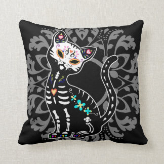 Girly Day of the Dead cute cat custom personalized Throw Pillow